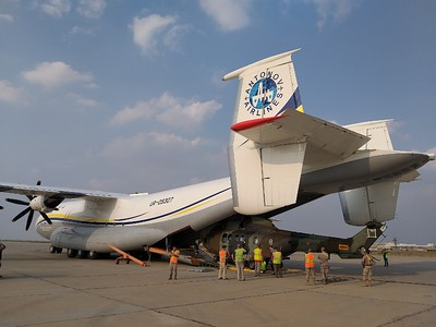 """""""Owing to the height of the Antei's cargo compartment measuring 4.4 meters, the transportation did not require the dismantling of the helicopters' rotors,"""" said Vitaly Shost, First Deputy Director of Antonov Airlines."""