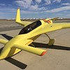 This Long-Eze was painted yellow. I know that Burt Rutan wanted them all painted white to keep the fiberglass cool, but his brother Dick painted his light blue, and this one was the only other one with any color.
