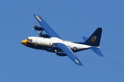 """Fat Albert"" is used to transport the Blue Angels crew.  At 1/800 sec., the propellers have too much stop action.  I would like the try it again at about half the shutter speed.  A cool shot nonetheless."