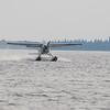 sealane 182 C-GZFM floatplane taking off on the Moose River at Moosonee.