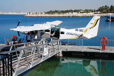 The seaplane at the jetty in Jebel Ali