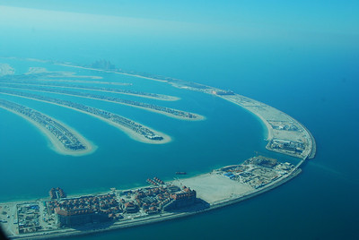 Palm Jumeirah, villas on the fronds and the Atlantis Hotel.