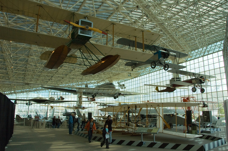 This picture shows the Main Gallery of the Museum of Flight.  Compared to the Smithsonian's National Air and Space Museum on the National Mall, this gallery may not have aircraft with same historical significance as the Smithsonian, it does measure up in terms of impressiveness.  Some very unique and rare planes call this museum home, that not even the Smithsonian can boast of.