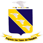 """This is the insignia for the 11 Bomb Group which was in the 7th Air Force of the Army Air Force. They were also known as the """"Gray Geese"""".  The motto is """"Progress Without Fear or Prejudice""""."""
