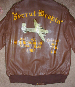 """The back of his jacket. Only he and his pilot, Alan """"AJ"""" Bell had their jackets painted. AJ said the artwork cost them 20 bottles of beer (they didn't drink them anyway)!"""
