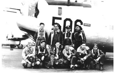 Bell Crew of 7th AAF, 11th Bomb Group, 98th Bomb Squadron taken in front of another plane. Sharon's Dad is standing, second from the left. See list for the other crew.