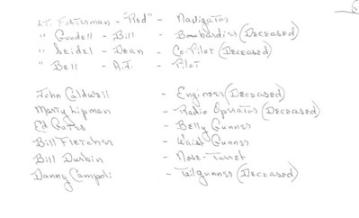 """Crew member list from """"506"""" photo.  Unfortunately, all except AJ Bell (now age 90) are deceased."""
