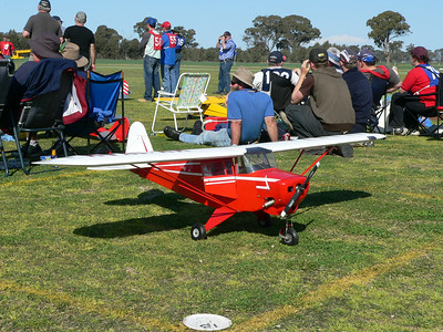 A Piper Tripacer or 'Pie Chaser' as they were commonly called Piper PA-22 150 Tri-Pacer Type: four-seat cabin monoplane Powerplant:  (150-hp)Avco Lycoming 0-320-B flat-four piston engine Performance: maximum speed 227 km/h (141 mph)(downhill); Service ceiling 5030 m (16,500 ft) - range with maximum fuel (1054 km (655 miles) Weights: empty 503 kg (1,110 lb), Maximum take-off 907 kg (2,000 lb) Dimensions: span 8.92 m (29 ft 31/4 in); Length 6.28 m (20 ft 71/4 in), Height 2.54 m (8 ft 4 in); Wing area 13.70 M2 (147.50 sq ft)