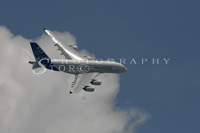 The A380 airliner performing at the Singapore Airshow