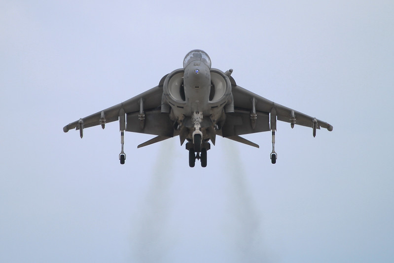 A Marine AV-8B Harrier demonstrating VTOL