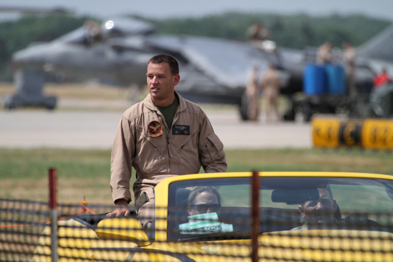 Harrier pilot riding down the flight line