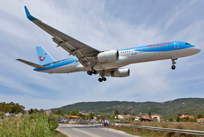G-OOBD Comes in over the road to land at Skiathos