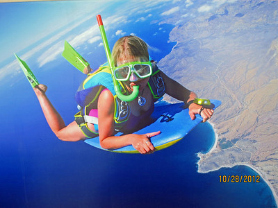 Obviously this is not me (I never wear flippers when skydiving!).