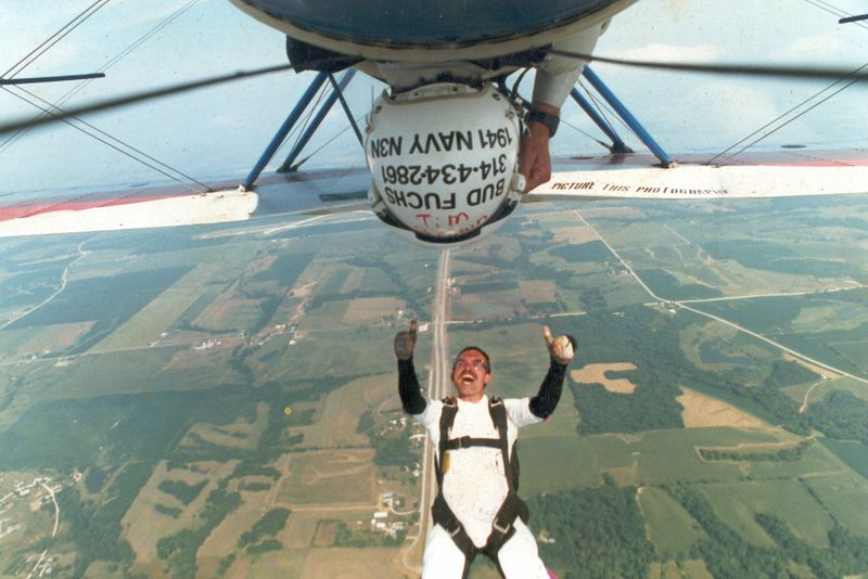 Tim falling out of the biplane at the World Freefall Convention in Quincy