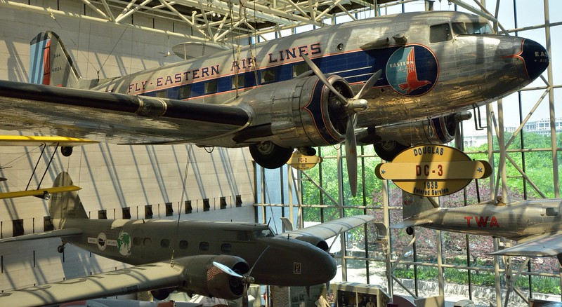 Douglas DC-3 in EasternAirlines livery and the first production model Boeing 247-D   N13369 decorated in early in United Airline livery,<br /> <br /> <br /> Smithsonian Air & Space Museum<br /> Washington. DC