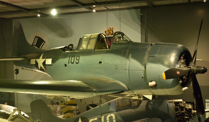 Douglas SBD Dauntless <br /> carries the markings of VS-51 (Navy scout squadron), which operated in the Pacific during World War II.<br /> <br /> Smithsonian Air & Space Museum<br /> Washington. DC