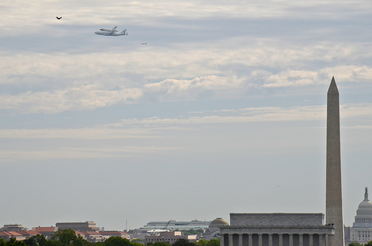 They passed well north of the mall, disappointed people who were hoping for a low lengthwise pass right over the mall.