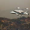 Space Shuttle Endeavour flying over the Hollywood Hills