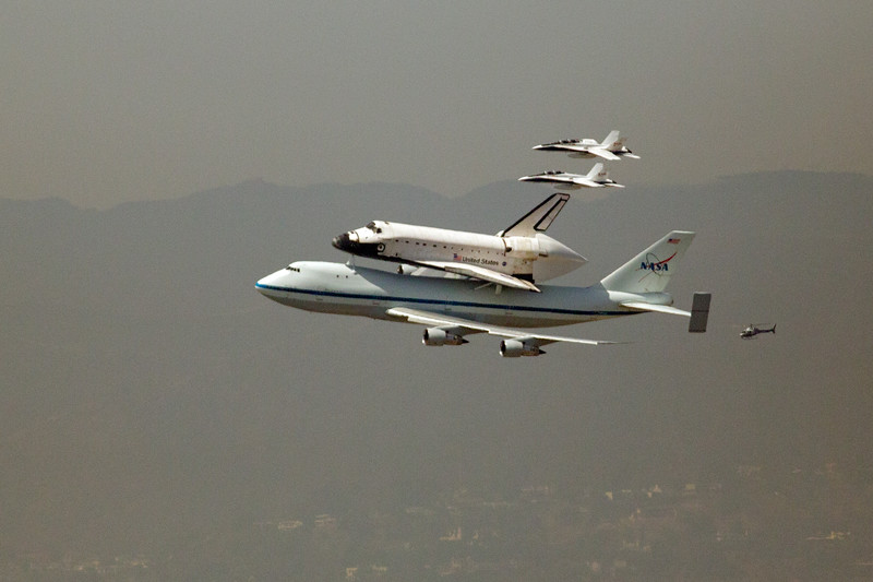 Space Shuttle Endeavour over Los Angeles with F-18 Escorts