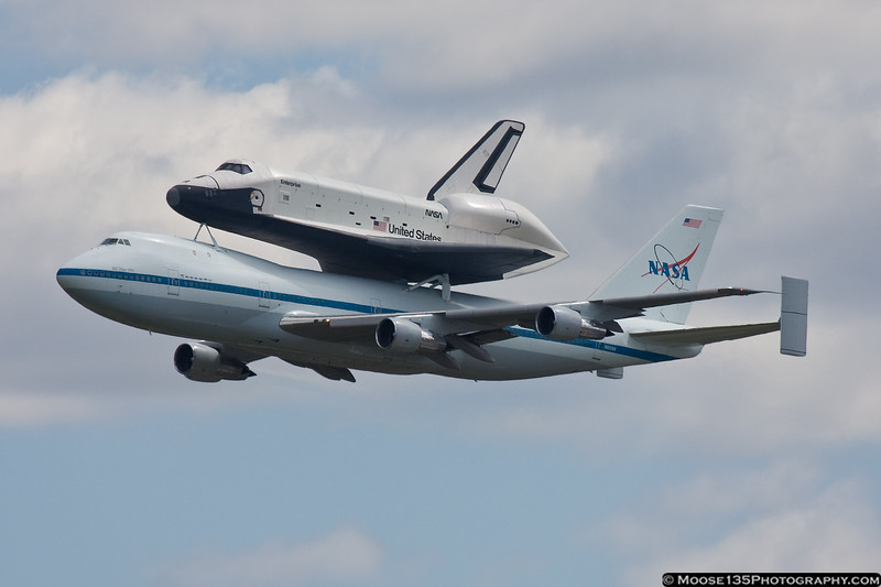 Space Shuttle Enterprise, riding on the 747 SCA, arrives in New York.