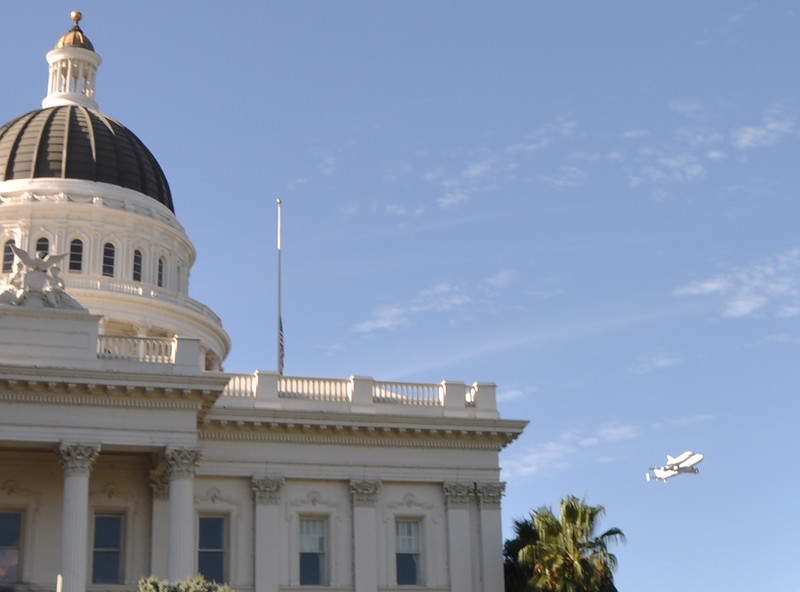 California State Capitol, with the Space Shuttle doing a flyover. (Fly-near is more like it...)