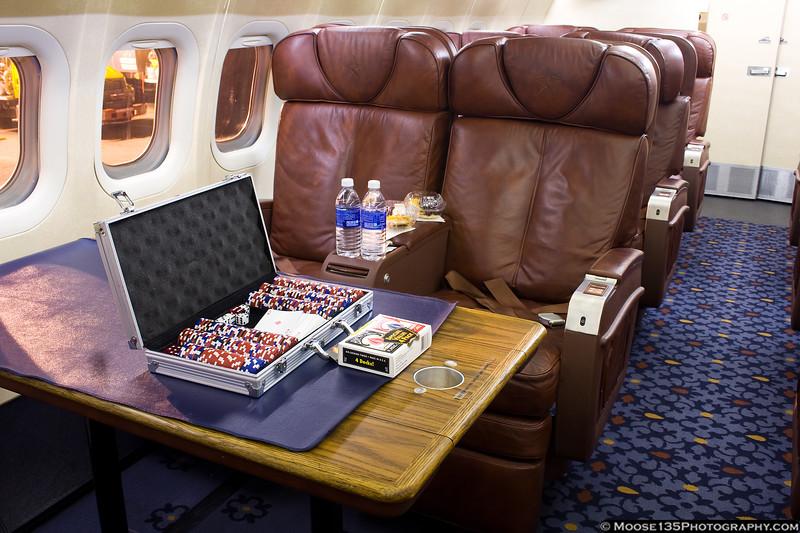Custom interior of the Columbus Blue Jackets DC-9.