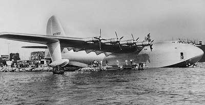 The Spruce Goose, Howard Hughes' experimental wooden airplane, floats in Long Beach Harbor, Nov. 2, 1947.