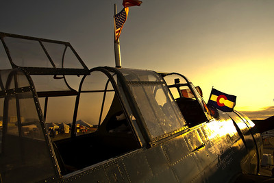 """Sunrise over a Grumman TBM Avenger of the Commemorative Air Force """"Ghost Squadron"""""""