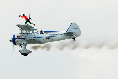 Stearman Model 75 - Dave Dacy - Wingwalker Tony Kazian - Prairie Air Show - Peoria, Illinois - Photo Taken: July 24, 2010