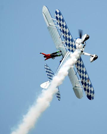 Stearman Model 75 - Dave Dacy - Wingwalker Tony Kazian - Gary Air Show - Gary, Indiana - July 7, 2012