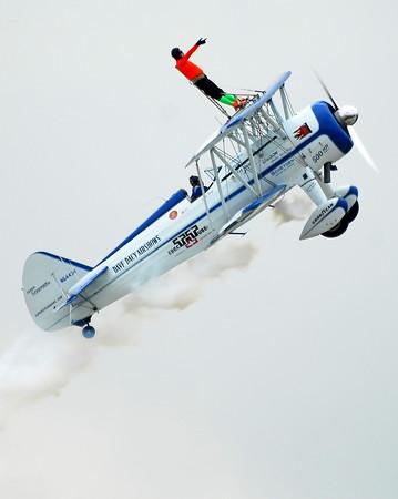 Stearman Model 75 - Dave Dacy - Wingwalker Tony Kazian - Rockford Airfest - Rockford, Illinois - July 31, 2010