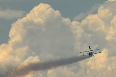Stearman Model 75 - Dave Dacy - Wingwalker Tony Kazian - Gary Air Show - Gary, Indiana - Photo Taken: July 10, 2010
