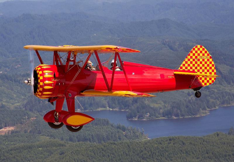 Stearman N56772 in flight over Oregon.