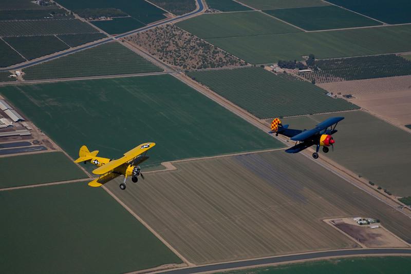 Two Stearmans over California's San Joaquin valley
