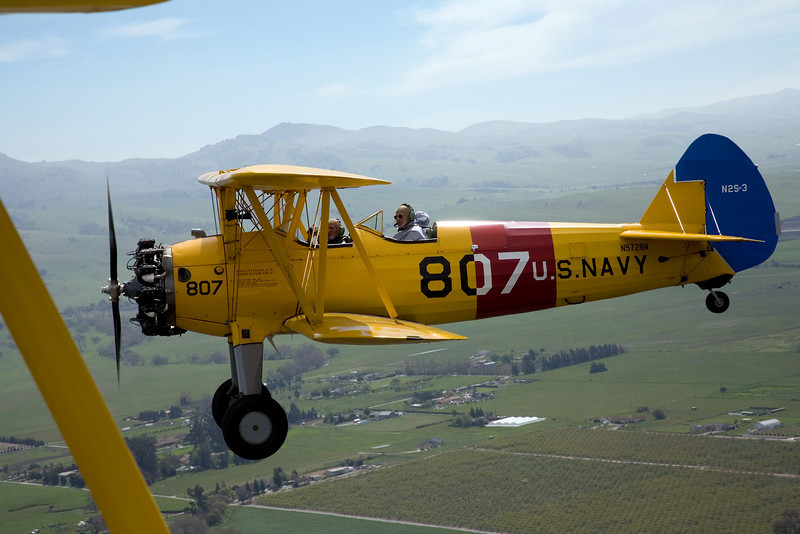 Steraman PT-17 N5728N in flight over Hollister California.