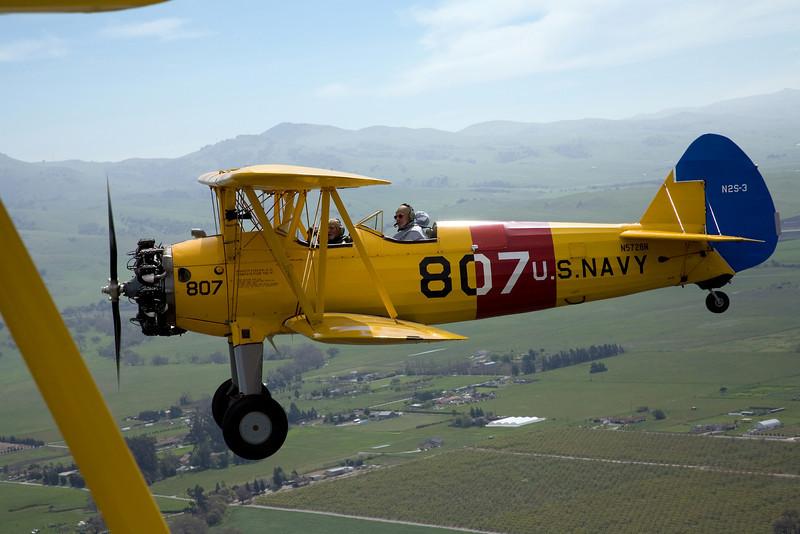 Steraman PT-17 N5728N in flight over Hollister California.