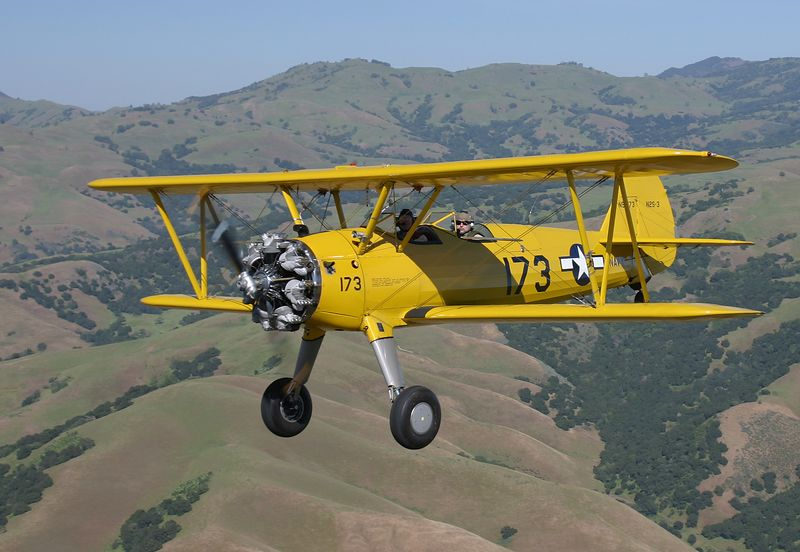 Stearman N54173 flying  near Hollister California.