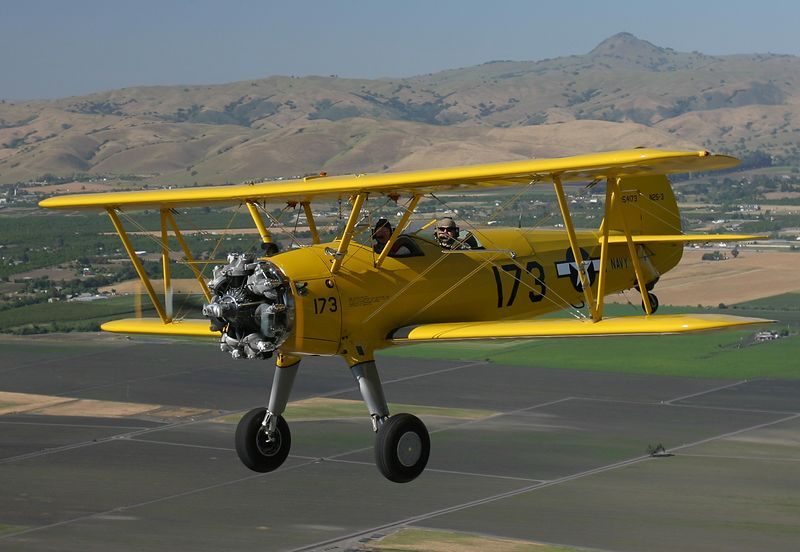 Stearman flying near Hollister California