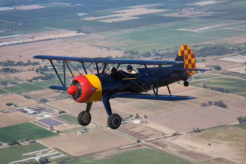 Stearman N7740C over California's San Joaquin valley
