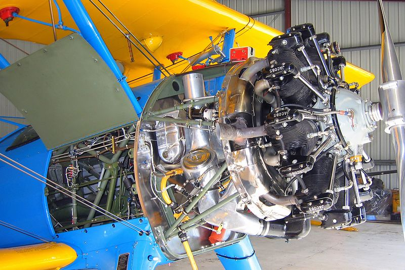 Stearman being worked on at Hollister California.