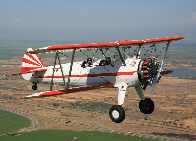 Stearman N75016 over central California, near Willows-Glenn.