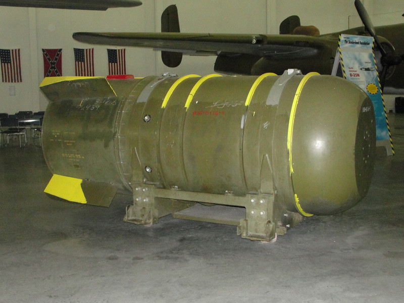 The B-36 was capable of carrying nuclear weapons, such as this Mk 36.  The bomb is nearly five feet in diameter and weighs over 17,000 pounds.  This one, of course, is only the case.