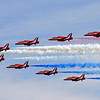 The Red Arrows,doing their display at the Sunderland 2013 Airshow on Sat 27th July 2013.