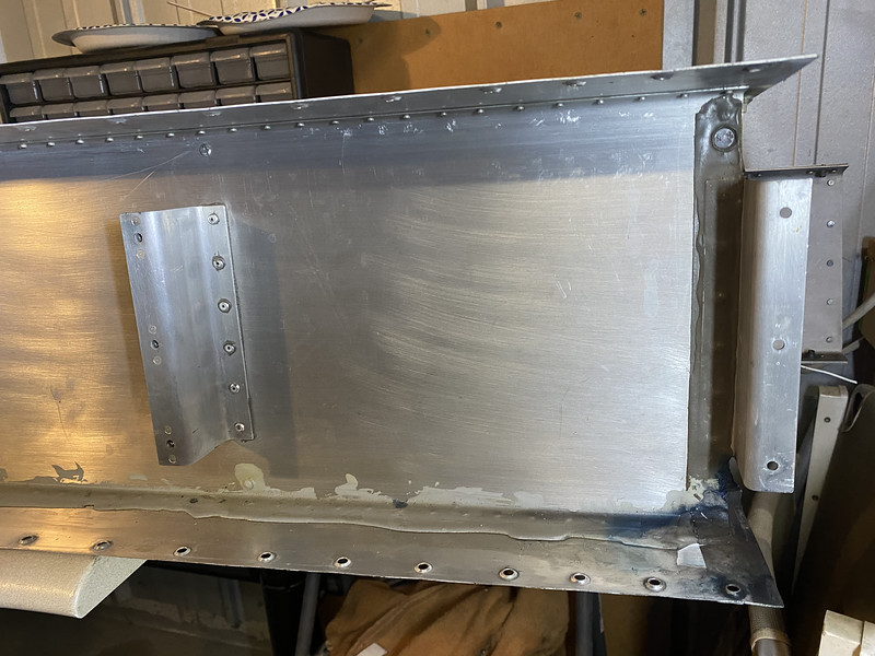 Marc delivered his left RV-10 fuel tank. Multiple areas of blue staining from the 100LL fuel. These were quickbuild tanks, and the previous owner had attempted some sealing from the outside.