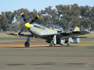 """P 51 Mustang up from Adelaide """"The Flying Undertaker"""""""
