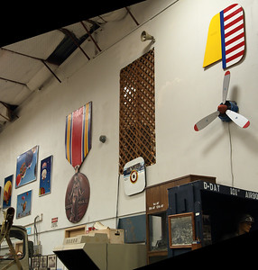 One wall of the main bay of the Texas Air Museum