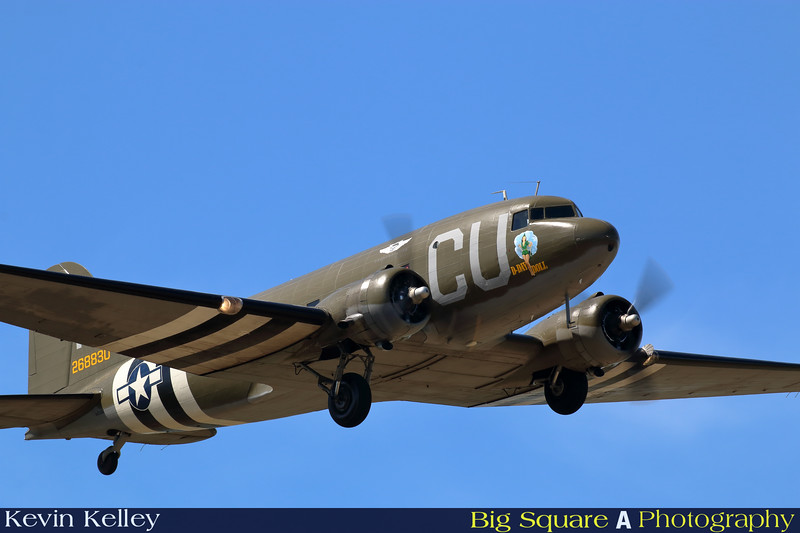 C-47 D-Day Doll departs Oxford airport in Connecticut for a training flight before leaving for France and the 75th anniversary of D-Day remembrance.