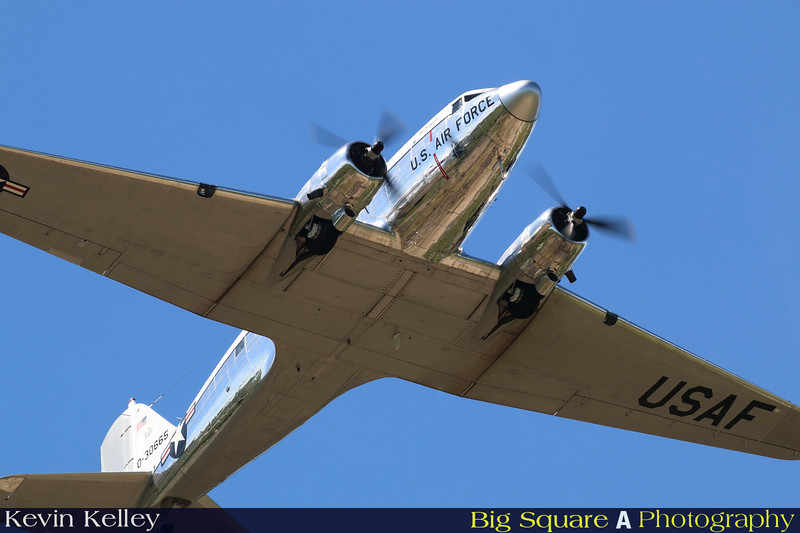 C-47 Miss Virginia departs Oxford airport in Connecticut for a training flight before leaving for France and the 75th anniversary of D-Day remembrance.