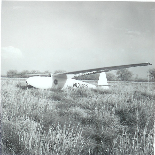 Bill Prescott Sr's Ka6 CR tied down in a Kansas field after a cross country flight from Longmont, CO - circa 1966.