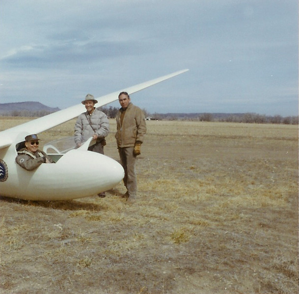 1966 - Bill Prescott (seated in cockpit), Fred Herrr and John LeCoq with their new Schleicher Ka6CR out at Longmont Airport - Longmont, CO.
